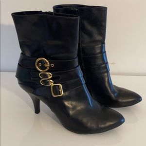 Bronx So Today Black Booties with Gold Buckles